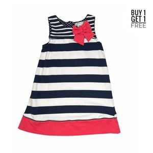 Maggie & Zoe Girls Navy Stripe Coral Bow Dress 6